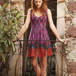Maeve Amapola Front zip Multicolored dress size